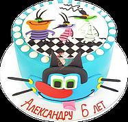 """Вафельные картинки на торт и кексы День Рождения в стиле """"Огги и Кукарачи"""""""