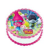 """Вафельные картинки на торт и кексы День Рождения в стиле """"Тролли"""""""