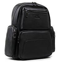 Большой мужской кожаный рюкзак BRETTON 35*39*17см (BE k1650-3 black)