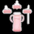 Стеклянная бутылочка с трубочкой для питья с силиконовой защитой Everyday Baby 240 мл. Цвет розовый, фото 4