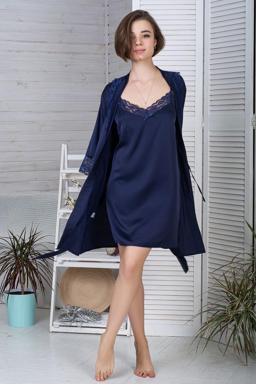 Нічна сорочка + халат MiaNaGreen К422н Синій