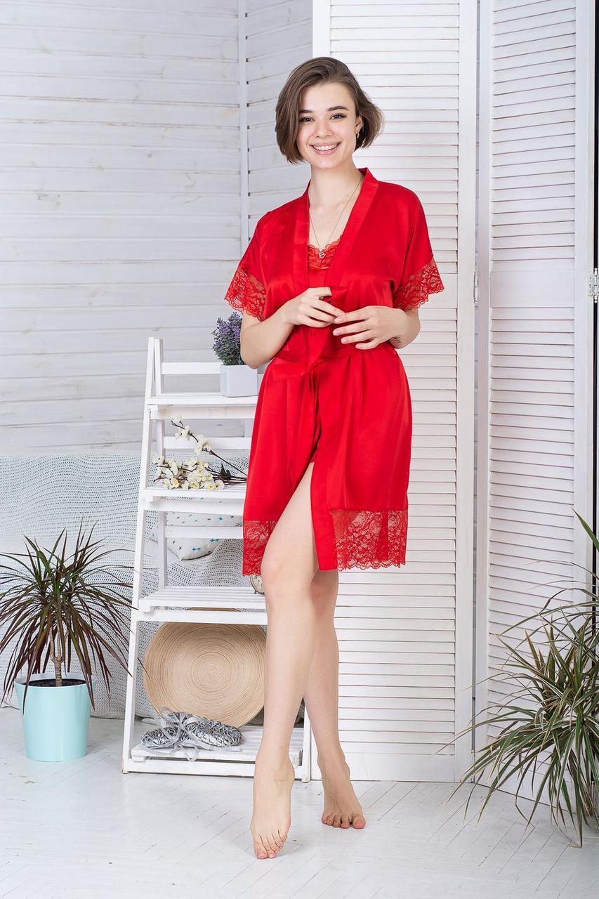 Мереживний халат шовковий Х928 Червоний