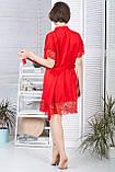 Мереживний халат шовковий Х928 Червоний, фото 3