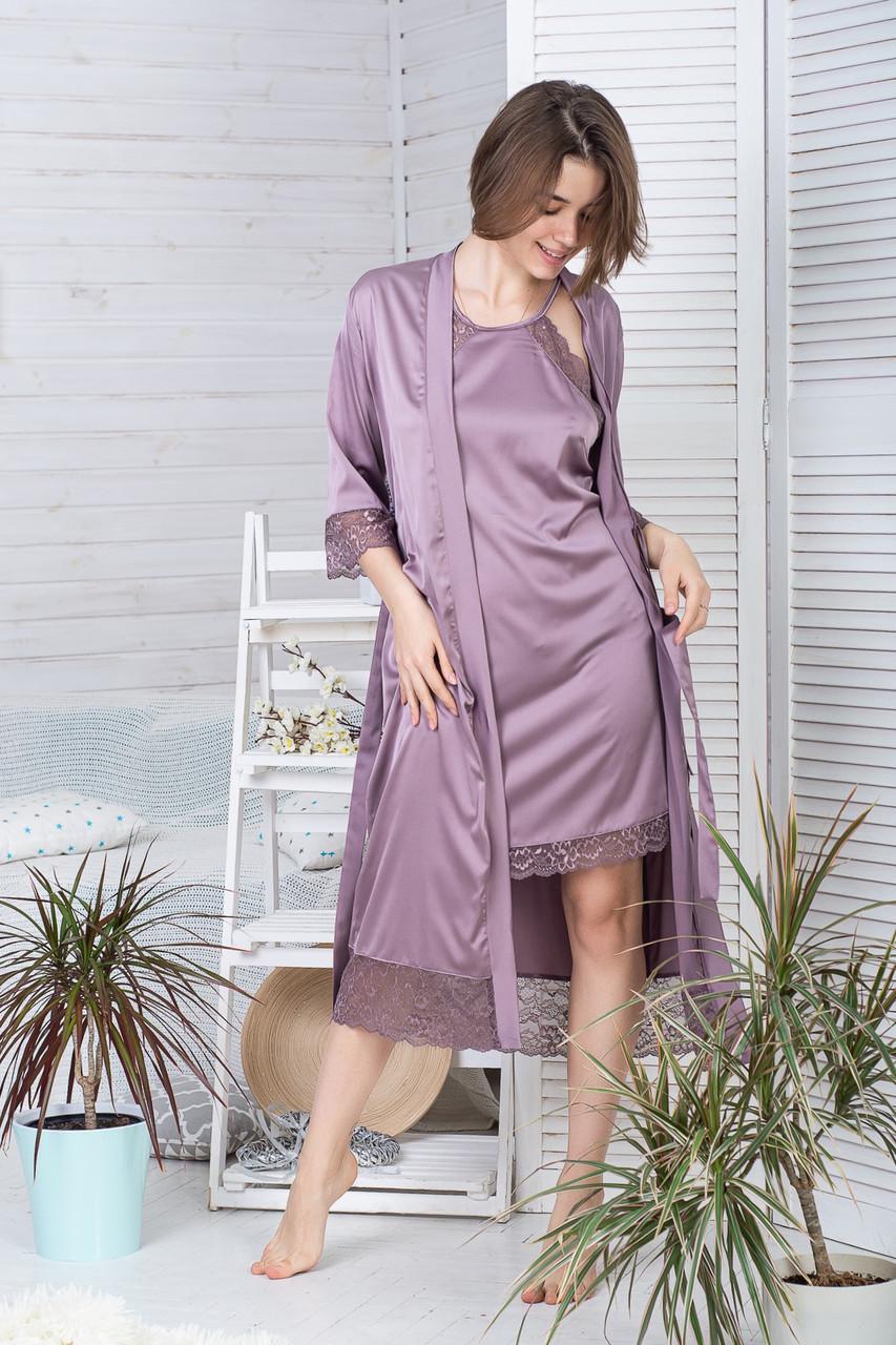 Жіночий комплект з подовженим халатом та сорочкою К1082н