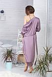 Жіночий комплект з подовженим халатом та сорочкою К1082н, фото 2