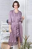 Жіночий комплект з подовженим халатом та сорочкою К1082н, фото 4