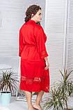 Жіночий шовковий халат 110 см XXL+ Х904 Червоний, фото 2