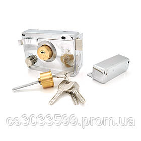 Замок до дверей накладний з защелкою і набором лазерних ключів 9219