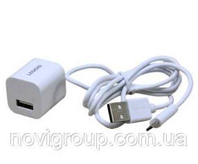 Набір 2 в 1 СЗУ With Type-C Cable 110-240V Legend LD-901, 1xUSB, 2.0 A, White, Blister-box