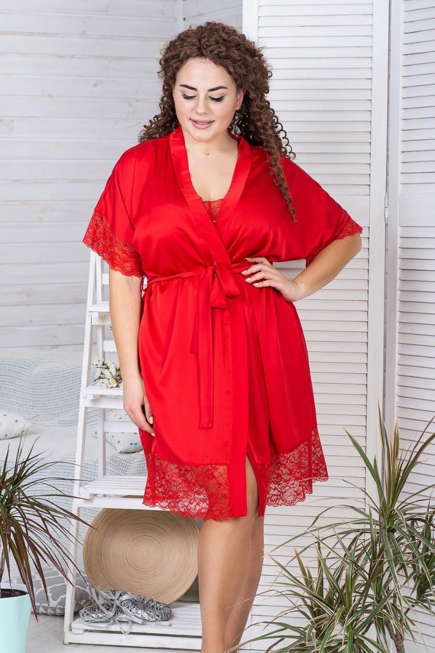 Короткий шовковий халат XXL+ Х928 Червоний