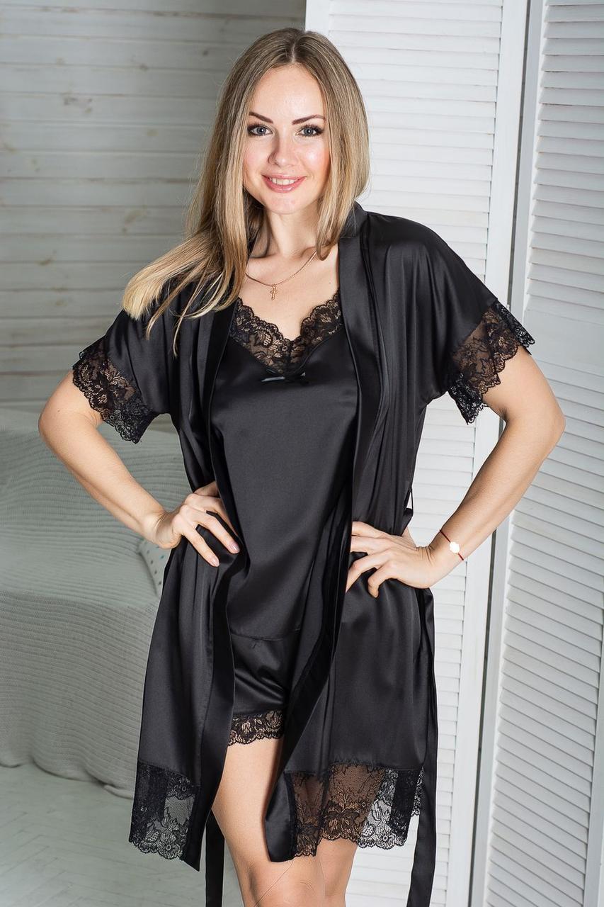 Жіночий мереживний комплект з піжамою К1041п Чорний
