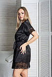 Жіночий мереживний комплект з піжамою К1041п Чорний, фото 4