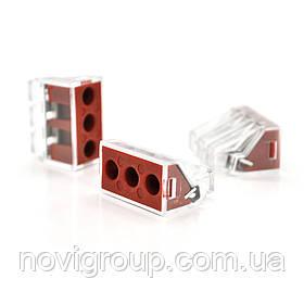 Клема з затискачем 3-дротова WAGO K773-173 для розподільчих коробок, 3-pin, прозоро-червона