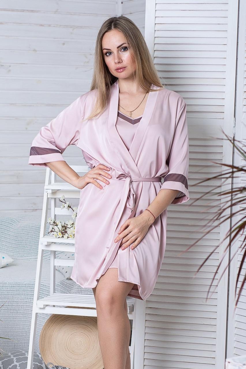 Комплект з шовку піжама з халатом Км1090п Мокко