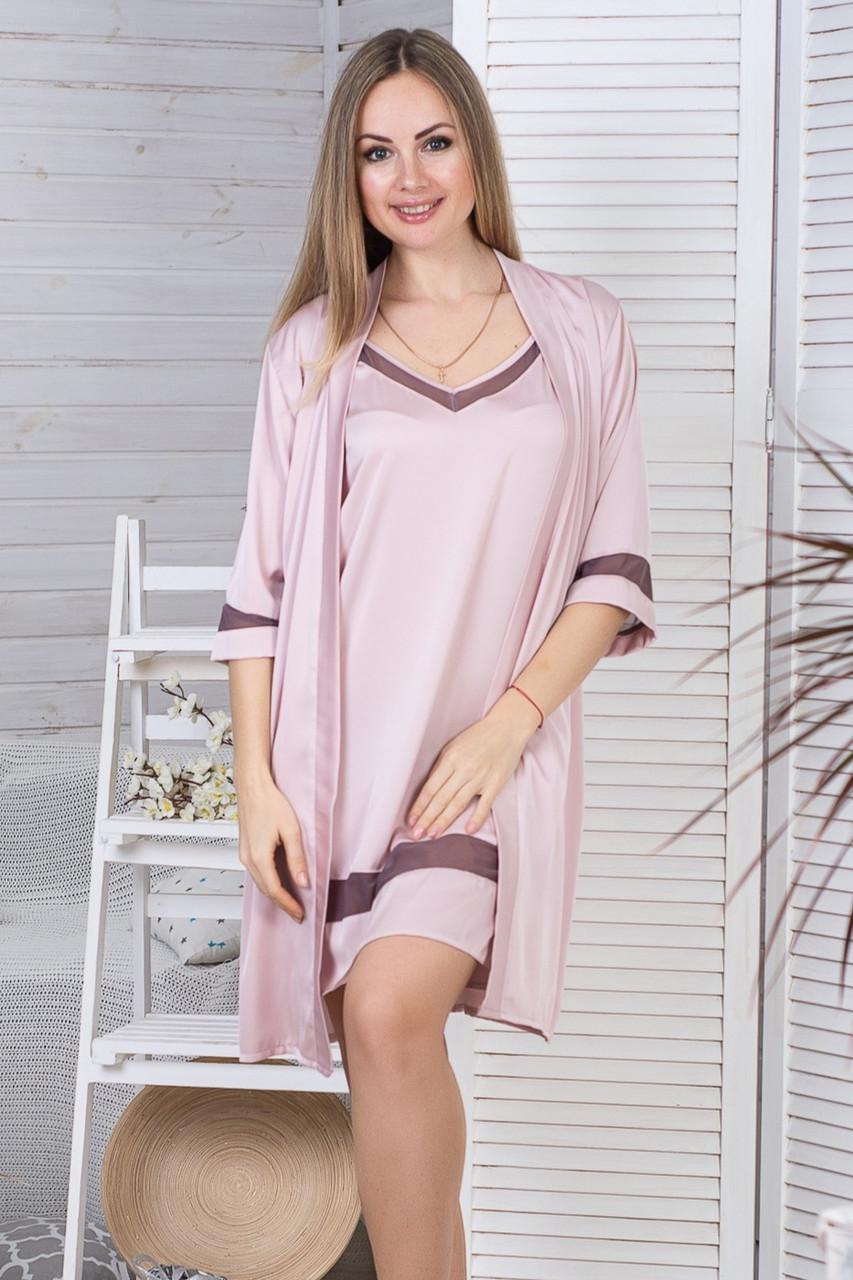 Стильный жіночий комплект с ночной рубашкой Км1091н Мокко