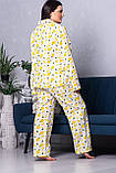 Жіноча піжама рубашка + брюки XXL П1021 Лимони, фото 3