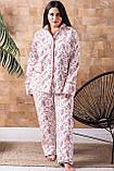 Жіноча тепла піжама батал П1020 Розы, фото 3