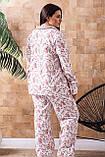 Жіноча тепла піжама батал П1020 Розы, фото 4