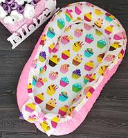 Позиционер с ортопедической подушкой для новорожденного, кокон в кроватку, Минки