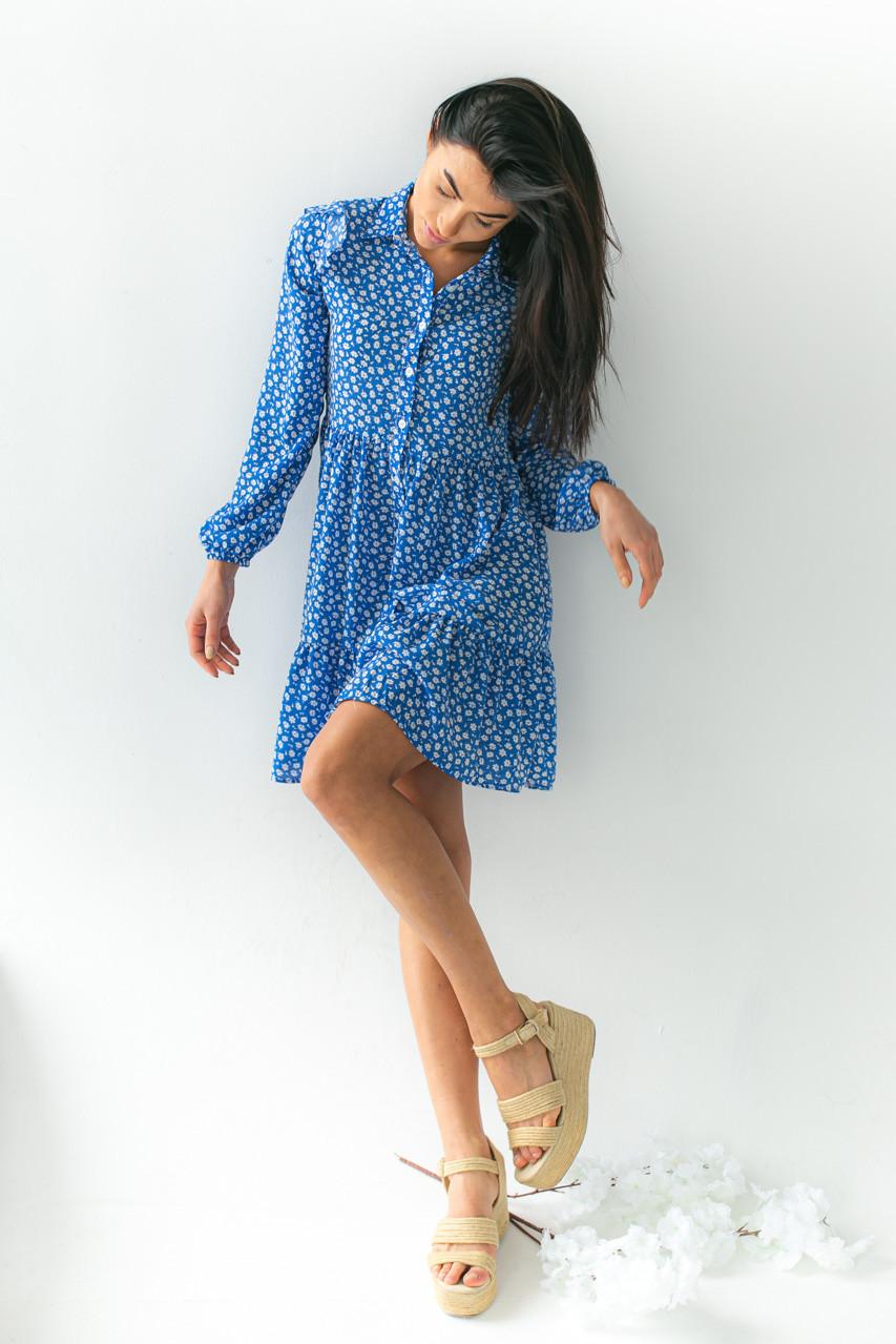 Платье на пуговицах с цветочным принтом GULSELI - синий цвет, 38р (есть размеры)