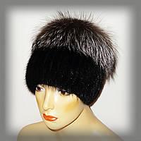 Меховая шапка из ондатры комбинированная с чернобуркой (кубанка)