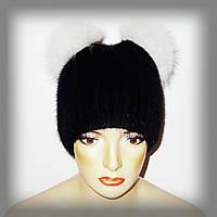 Меховая шапка из ондатры (кошечка, белые ушки)