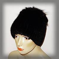 Зимняя меховая шапка из ондатры (с черной отделкой)