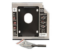 """Перехідник Frime для установки 2.5"""" SSD/HDD у відсік приводу 12.7 мм Black/Silver (FHDC127M)"""