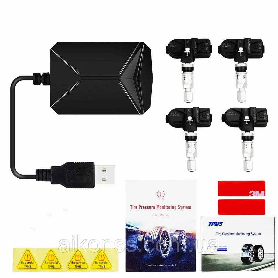 TPMS автомобільна система контролю тиску в шинах . USB для магнітол Android GPS з 4 внутрішніми датчиками