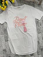 Женская летняя футболка с разрезами DONT PANIC норма размер 42-48,цвет белый