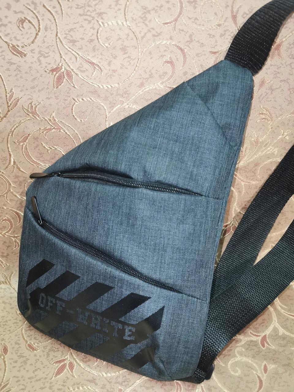 Слінг на груди чоловіча сумка через плече чорна тканинна модна 30*21 см С193-38