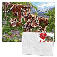 Картина за номерами «Сімейство тигрів» Danko Toys KpNe-03-06, 40- 30 см