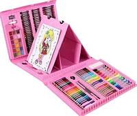 Детский набор для творчества 208 предметов с мольбертом, набор для рисования Розовый