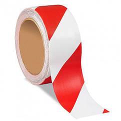 Сигнальная оградительная лента красно белая 48мм*200м