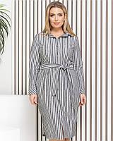Новинка! Сукня сорочка з натурального льону, батал, арт М350, колір темно сірий в смужку