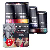 Акварельные карандаши в металлическом пенале 72 цвета