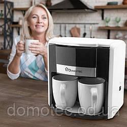 Кофеварка Domotec MS-0706 Белая (2 керамические чашки)