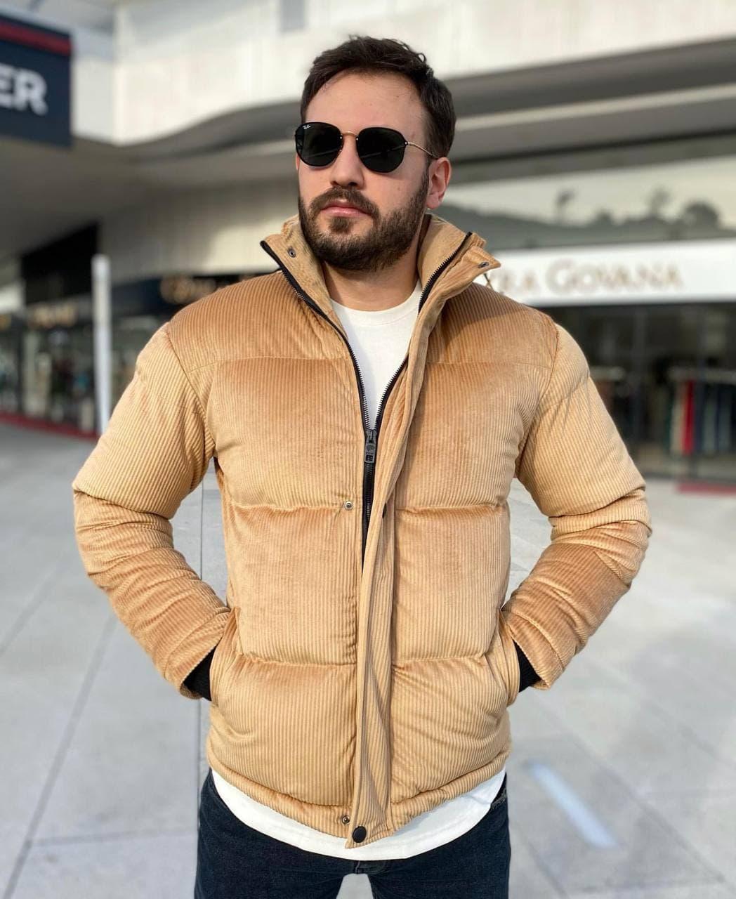 Мужская куртка бежевая велюр