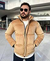 Мужская куртка бежевая велюр, фото 1