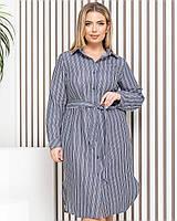 Новинка! Сукня сорочка з натурального льону, батал, арт М350, колір джинс в смужку