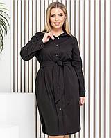Новинка! Сукня сорочка з натурального льону, батал, арт М350, колір чорний