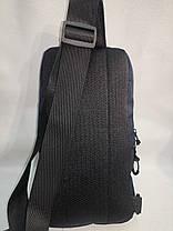 Нагрудная сумка мужская слинг через плечо черная модная тканевая С215-6, фото 3