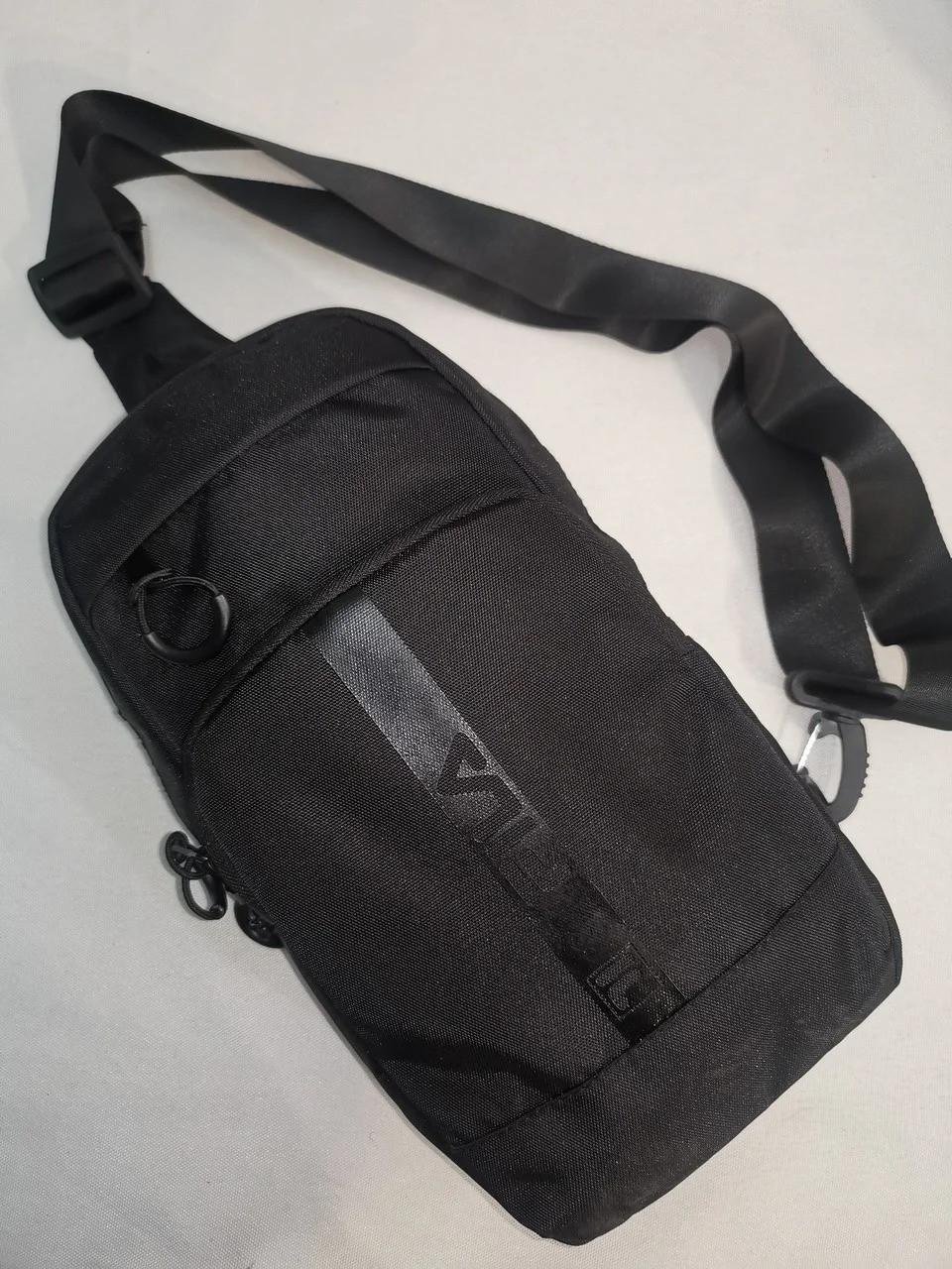 Нагрудная сумка мужская слинг через плечо черная модная тканевая С215-6