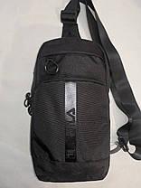 Нагрудная сумка мужская слинг через плечо черная модная тканевая С215-6, фото 2