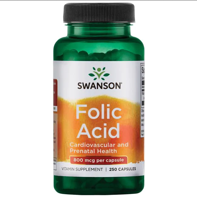 Фолиевая кислота США / Folic Acid Swanson USA 800 mcg 250 Caps