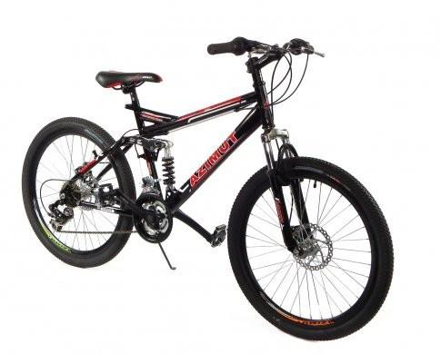 """Подростковый горный велосипед Azimut Race 24 размер рамы 17"""" черно-красный"""