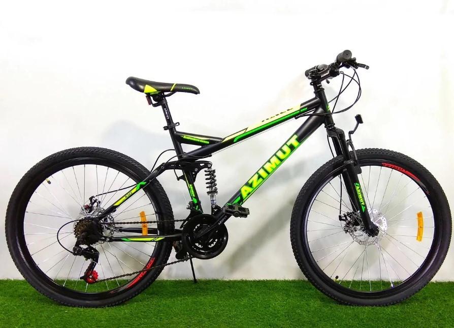 """Підлітковий гірський велосипед Azimut Race 24 розмір рами 17"""" чорно-зелений"""