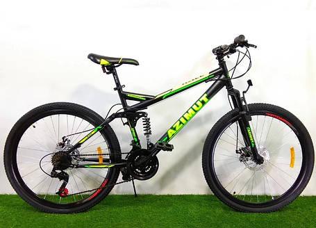 """Підлітковий гірський велосипед Azimut Race 24 розмір рами 17"""" чорно-зелений, фото 2"""