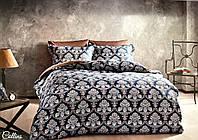 Комплект постільної білизни Tivolyo Home Collins сатин 220-200 см синій