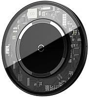 Бездротове (індукційна) зарядний пристрій Baseus Simple Magnetic 15W Black (WXJK-E02), фото 1